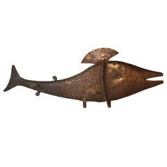 Benin Bronze Fish Sculpture
