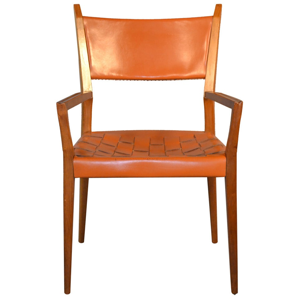 Paul McCobb Original Woven Leather Armchair