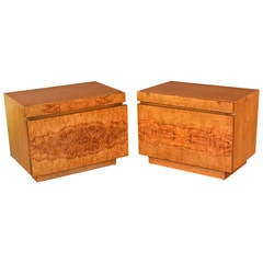 Beautiful Burled Wood End Tables with Drawer and Tray by Lane