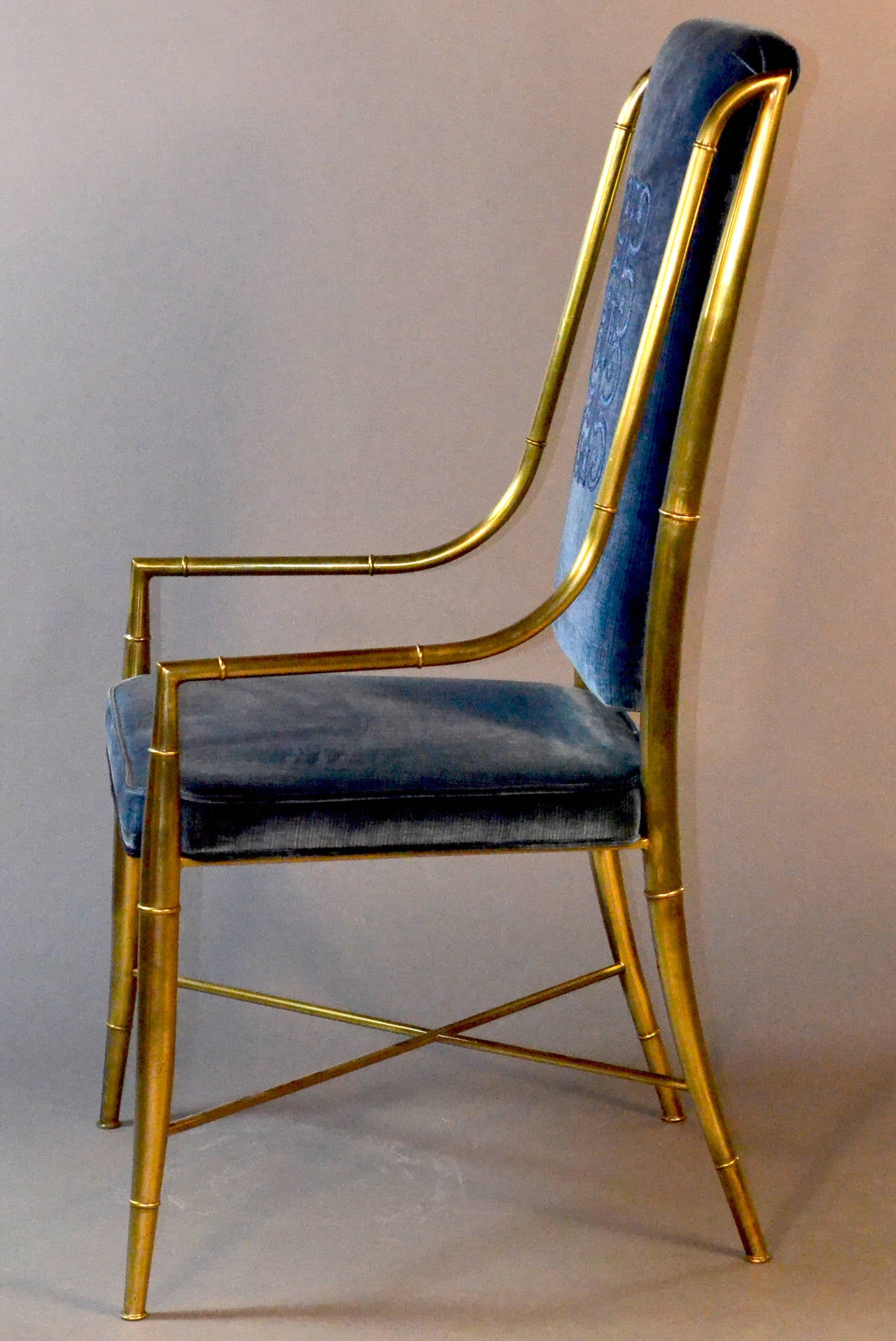 mastercraft brass faux bamboo set of eight dining chairs with blue velvet 3 - Blue Velvet Chair