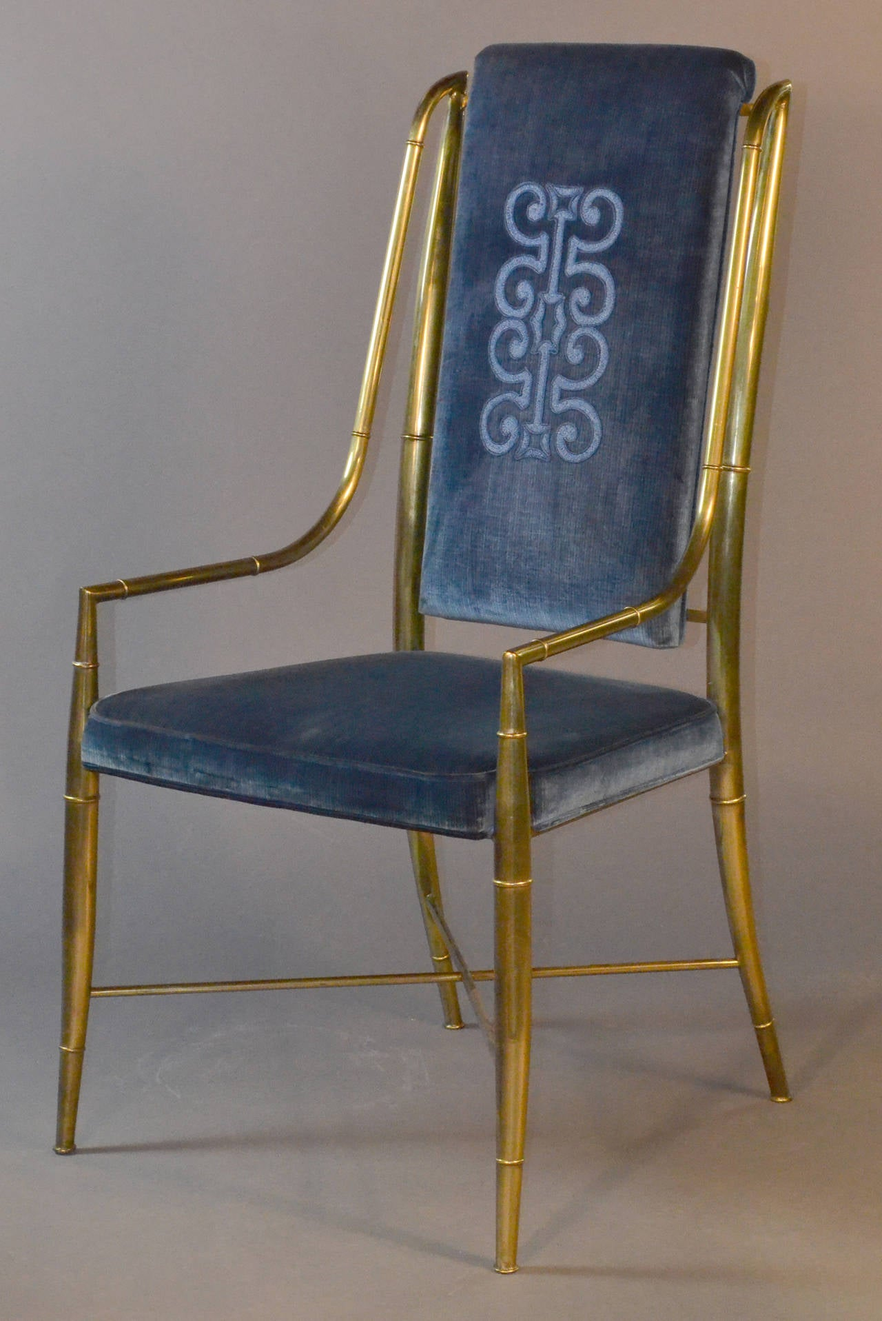 mastercraft brass faux bamboo set of eight dining chairs with blue velvet 2 - Blue Velvet Chair