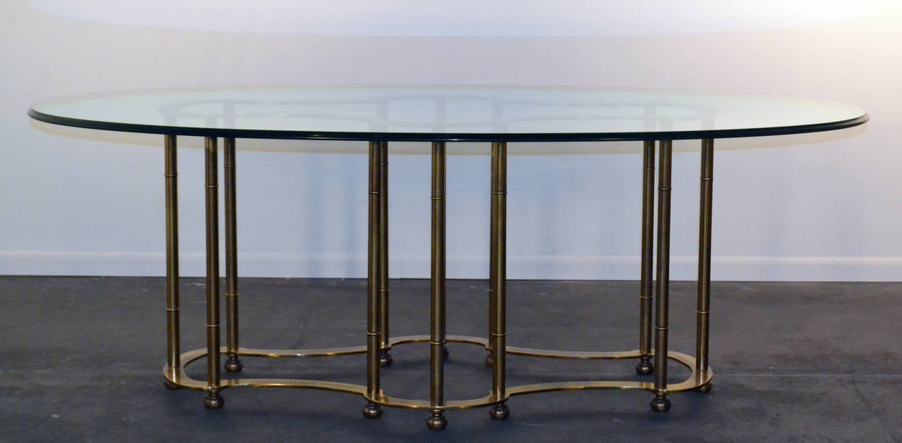 Mastercraft brass dining table - Mastercraft Faux Bamboo Solid Brass Dining Table With Racetrack Beveled Glass 2