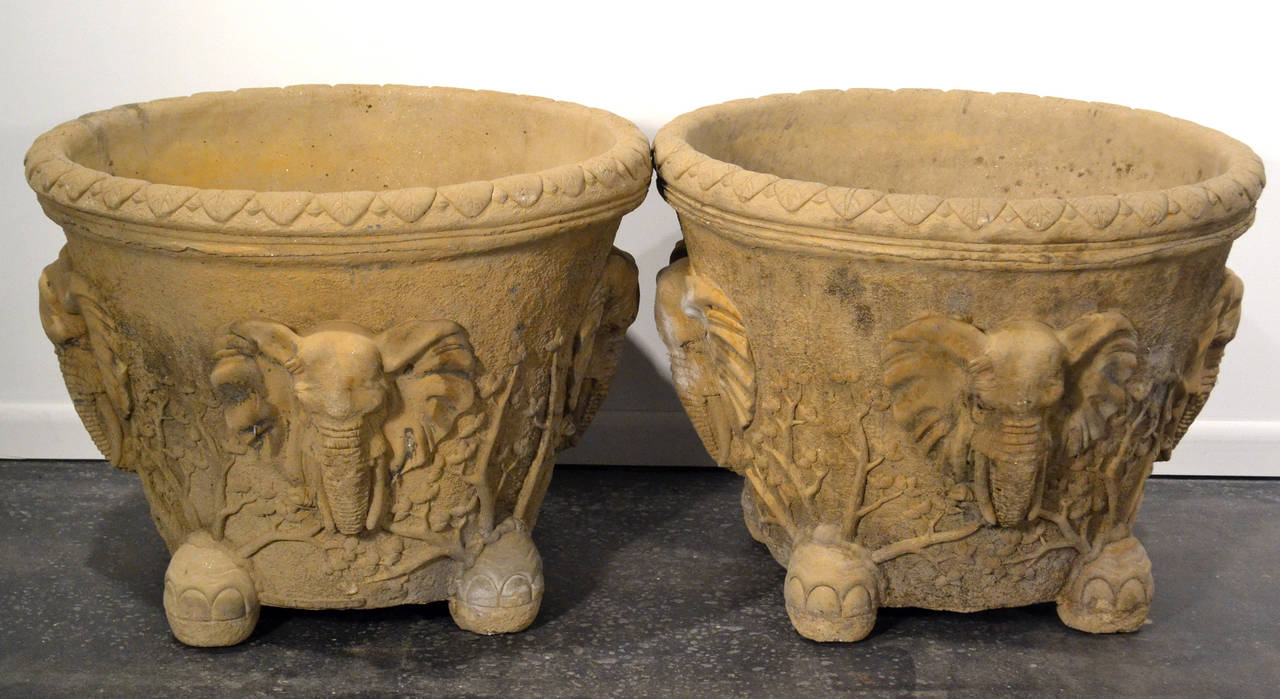 Hand Carved Cement : Pair of monumental hand carved elephant planters in cement