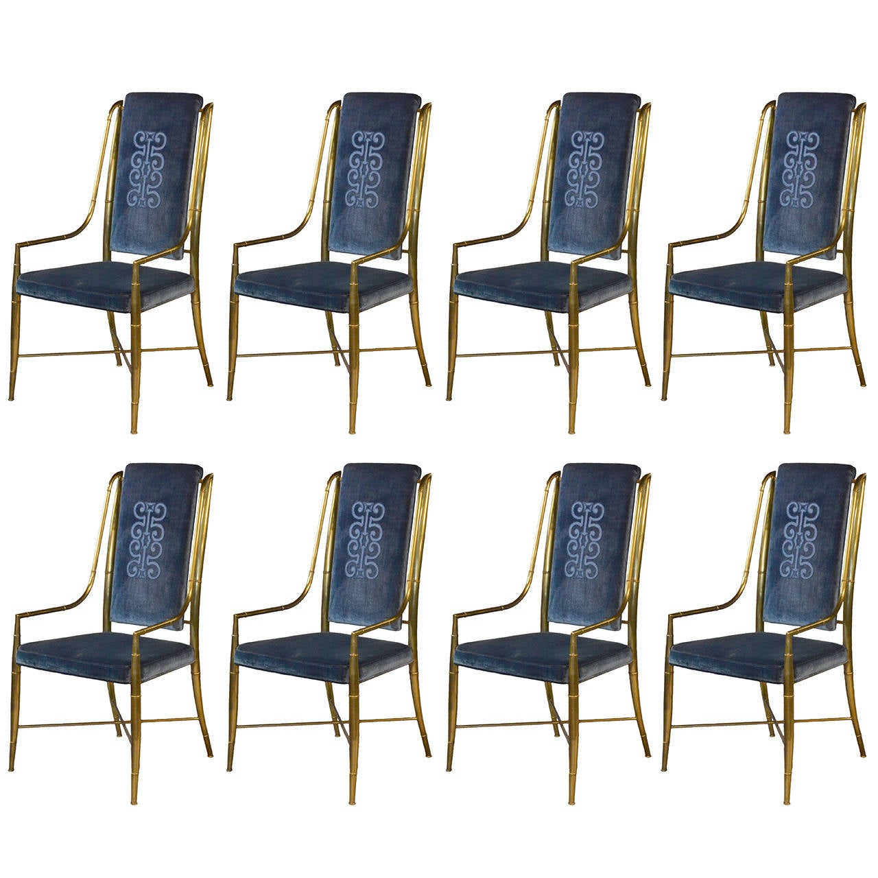 Mastercraft Brass Faux Bamboo Set of Eight Dining Chairs with Blue ...