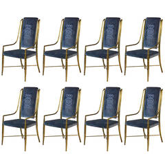 Mastercraft Brass Faux Bamboo Set of Eight Dining Chairs with Blue Velvet