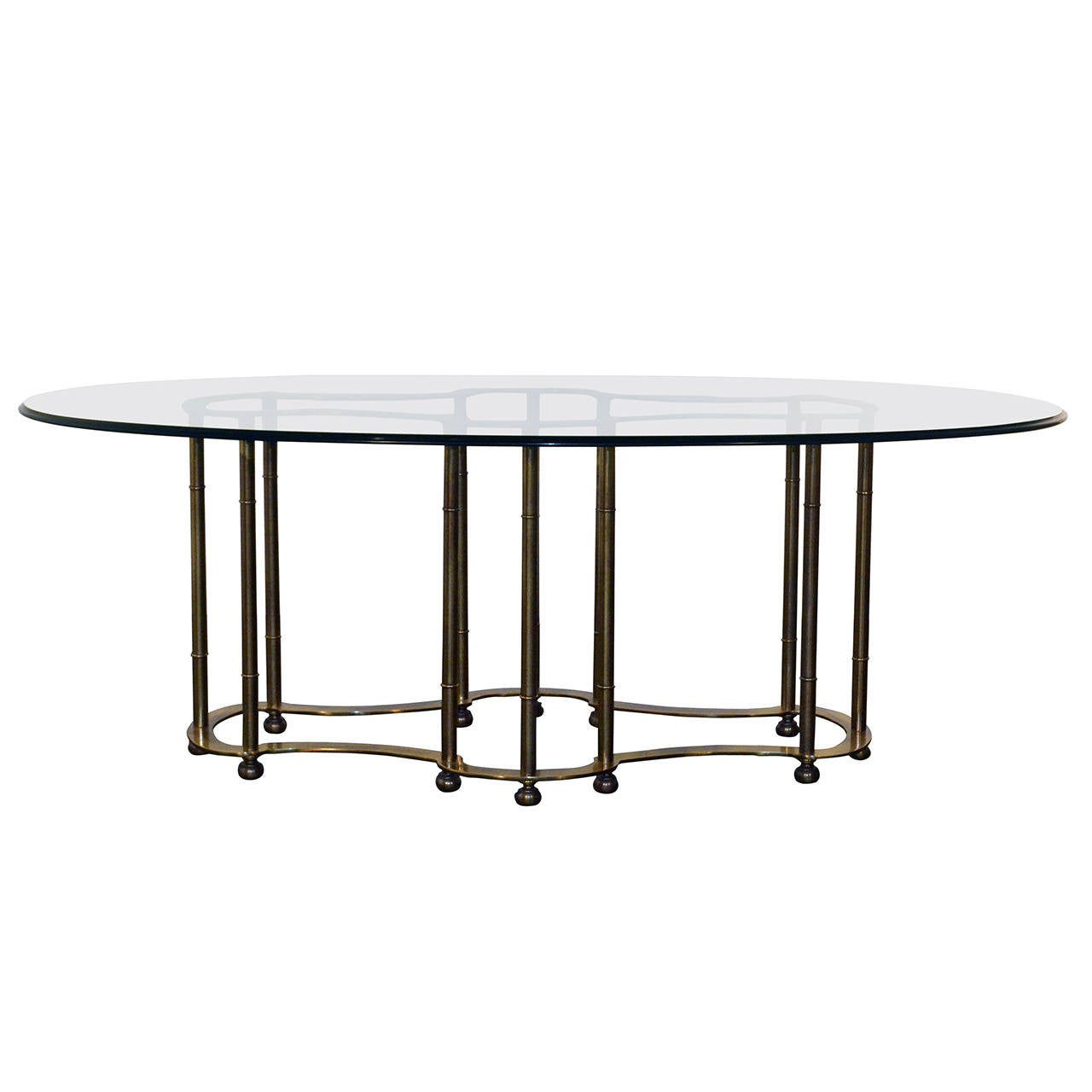 mastercraft faux bamboo solid brass dining table with racetrack