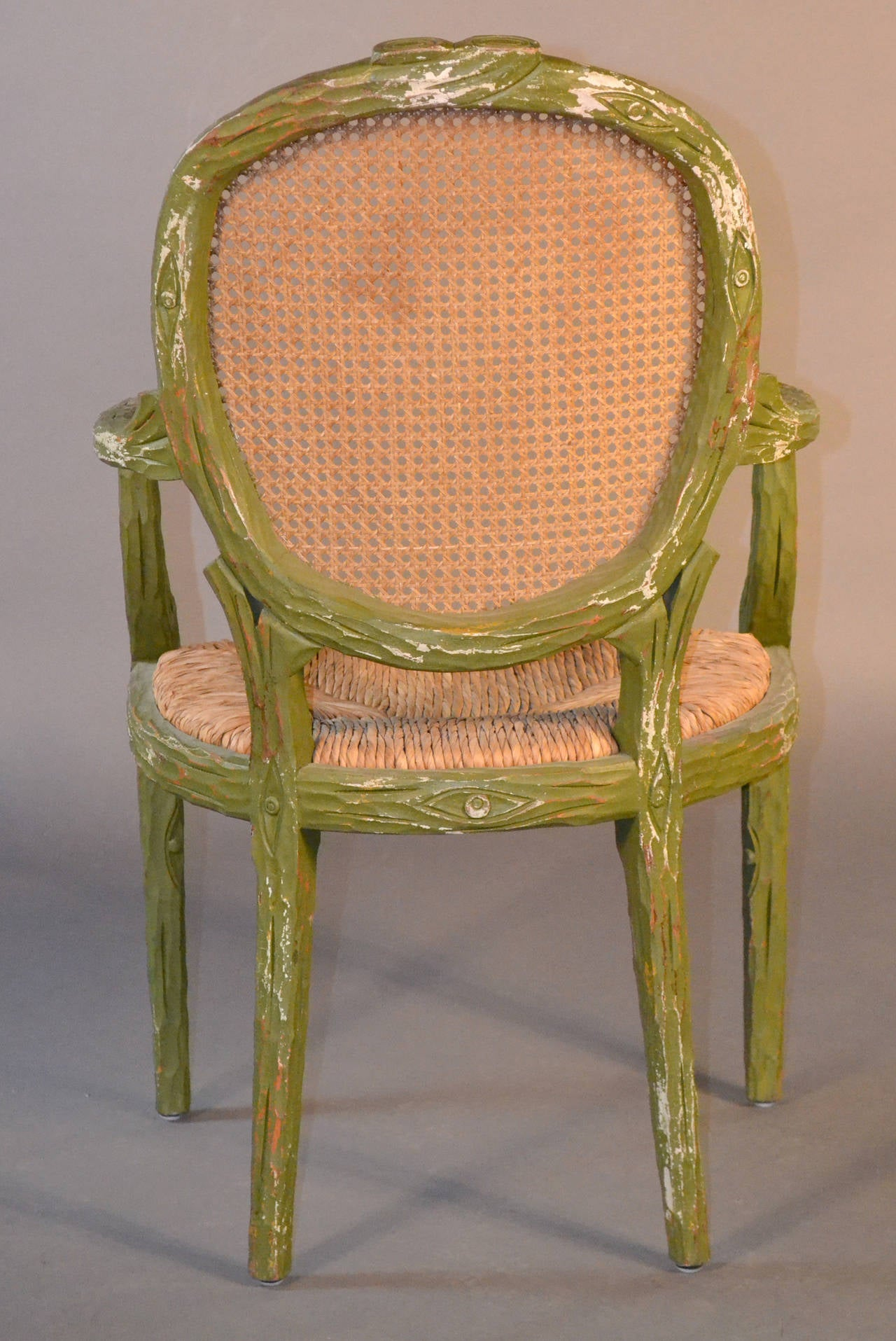 Set Of Six Faux Bois Dining Chairs At 1stdibs