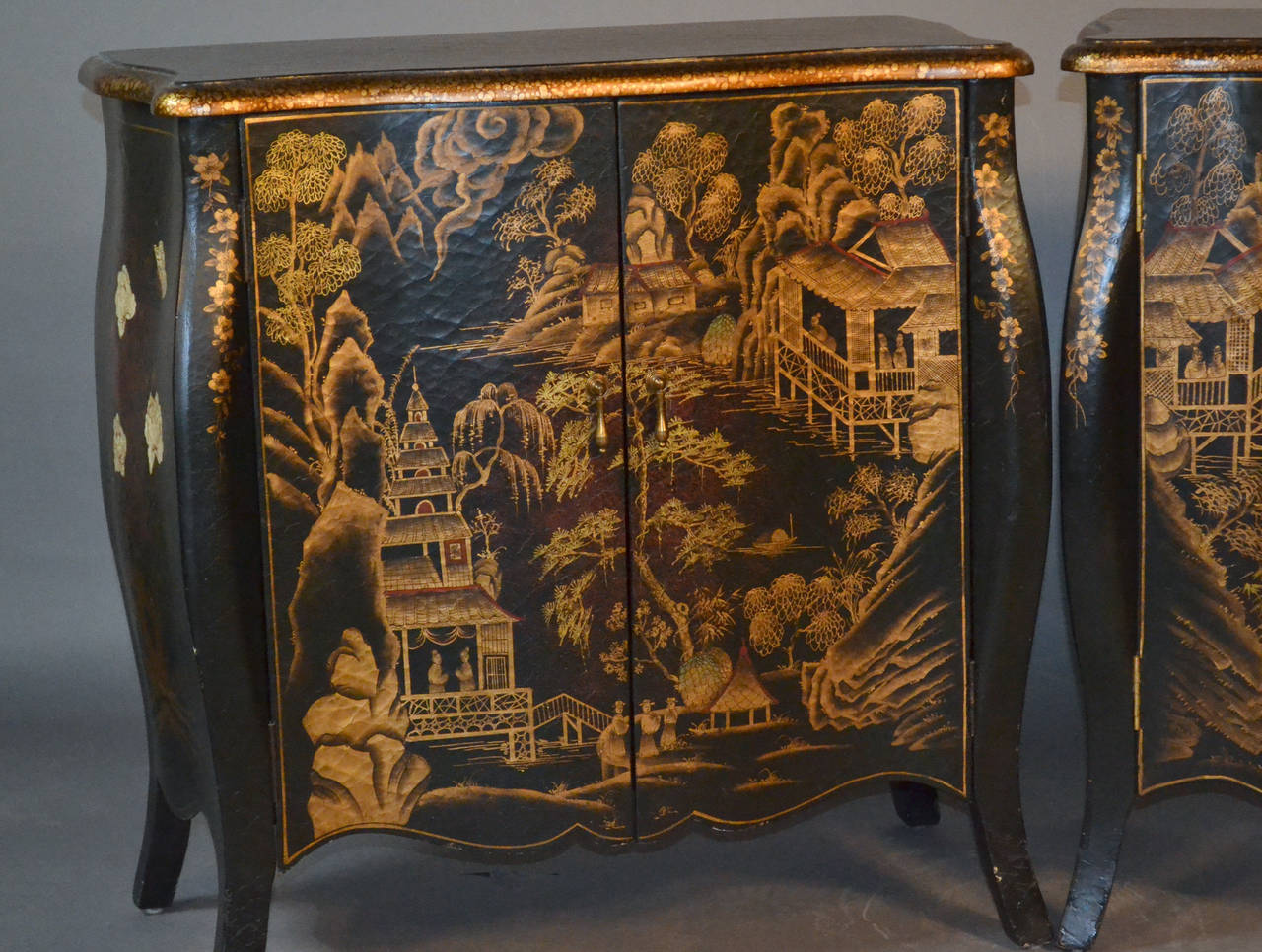 Pair of chinoiserie hand painted demilune commodes at 1stdibs for Chinese furniture norwalk ct