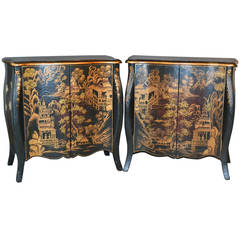 Pair of Chinoiserie Hand-Painted Demilune Commodes