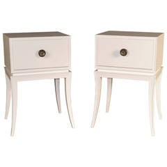 Vintage Pair of White Lacquered Nightstands