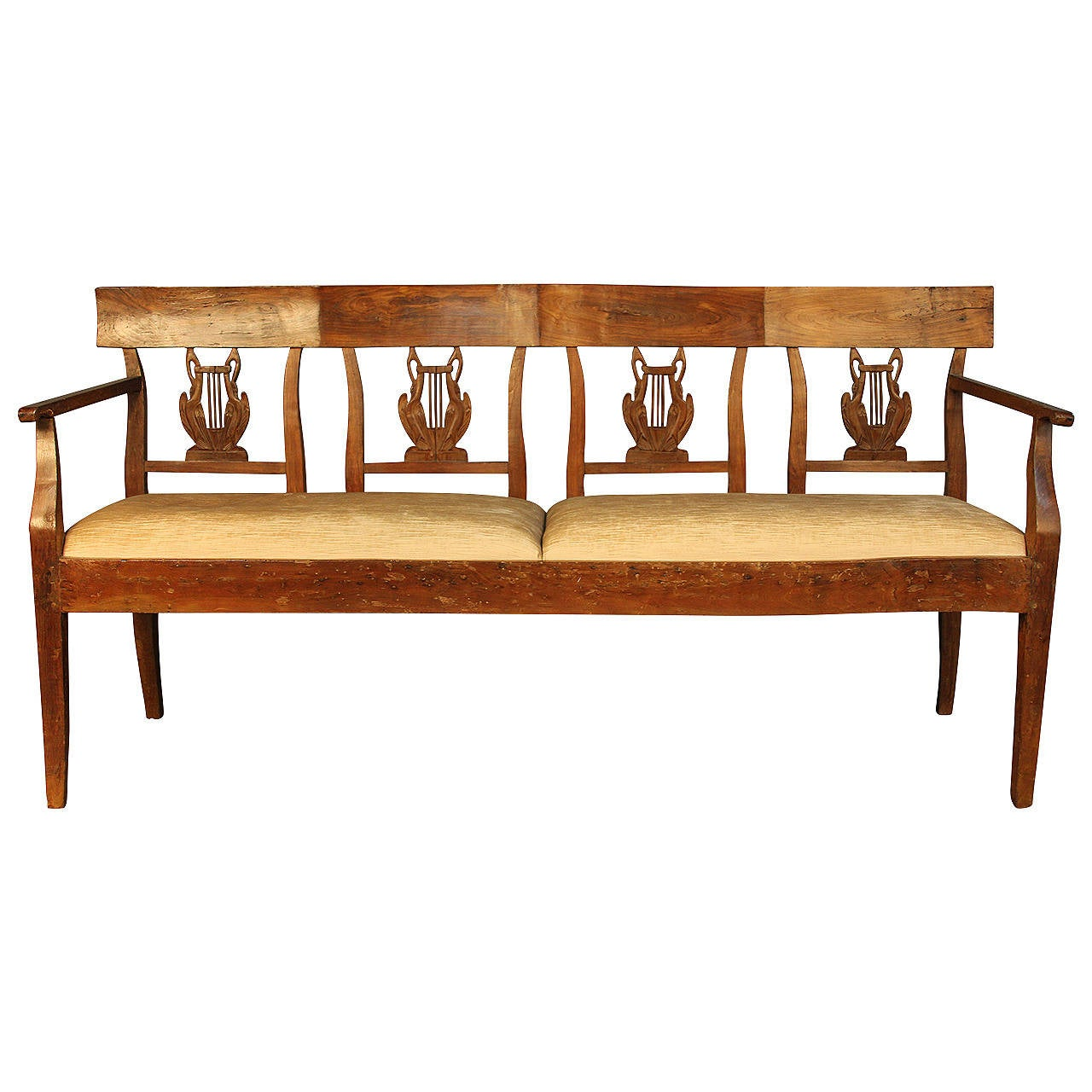 19th Century Carved Back Wood Upholstered Bench Settee At 1stdibs