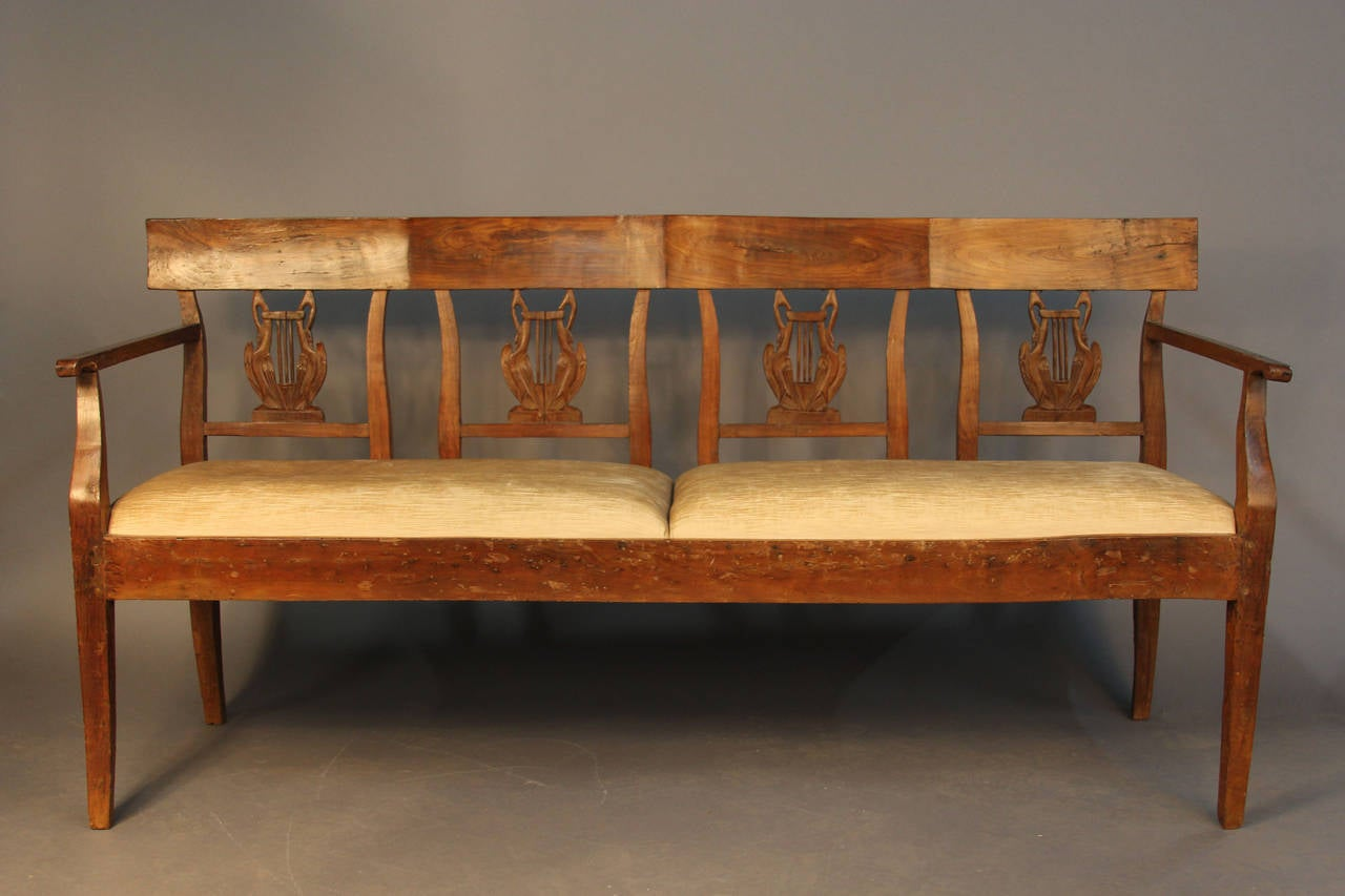 19th Century Carved Back Wood Upholstered Bench Settee For Sale At 1stdibs