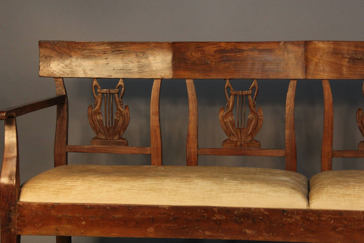 19th Century Carved Back Wood Upholstered Bench Settee For