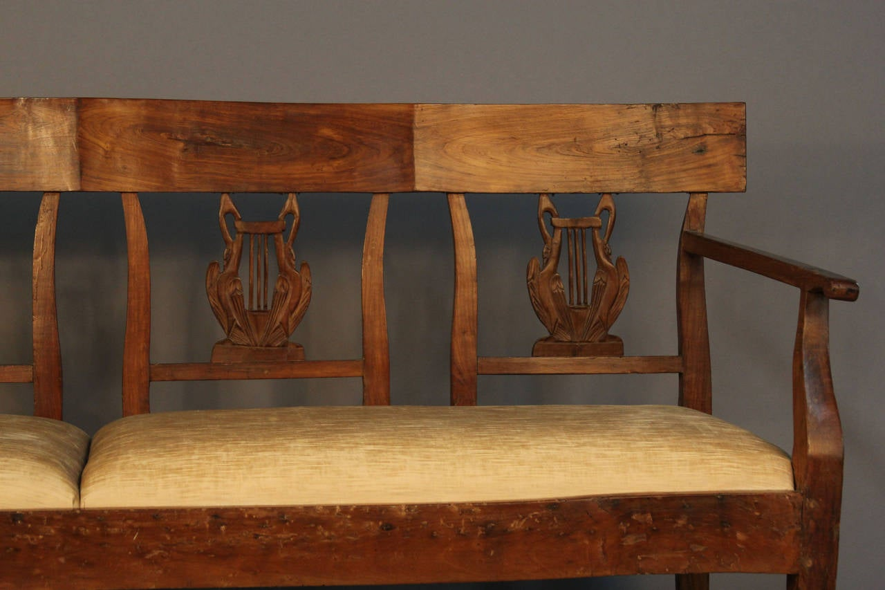 Th century carved back wood upholstered bench settee for