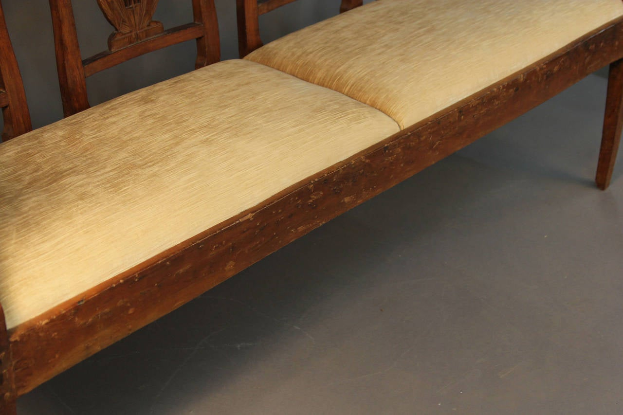 19th Century Carved Back Wood Upholstered Bench Settee At 1stdibs. Full resolution‎  image, nominally Width 1280 Height 853 pixels, image with #AD541A.