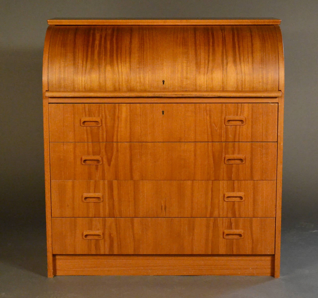 danish teak rolltop desk with four drawers 2 - Rolltop Desk