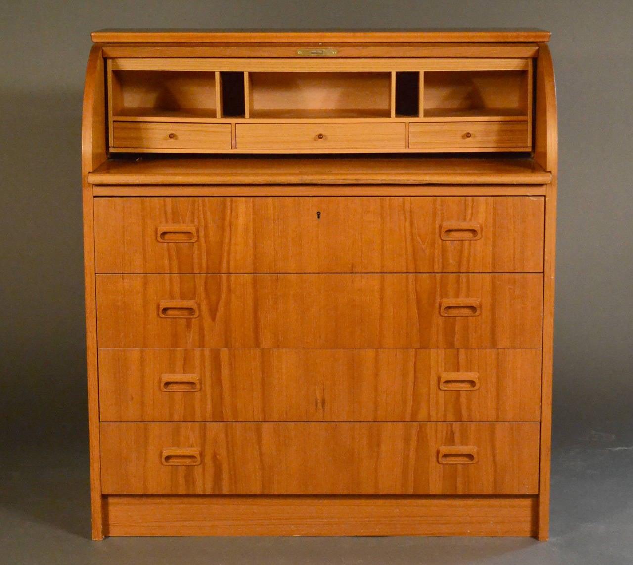 danish teak rolltop desk with four drawers 3 - Rolltop Desk