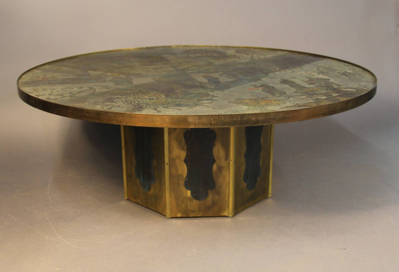 Exquisite Signed Philip And Kelvin Laverne Coffee Table At 1stdibs
