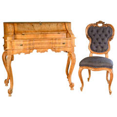 Burled Wood Drop Front Secretaire and Matching Chair