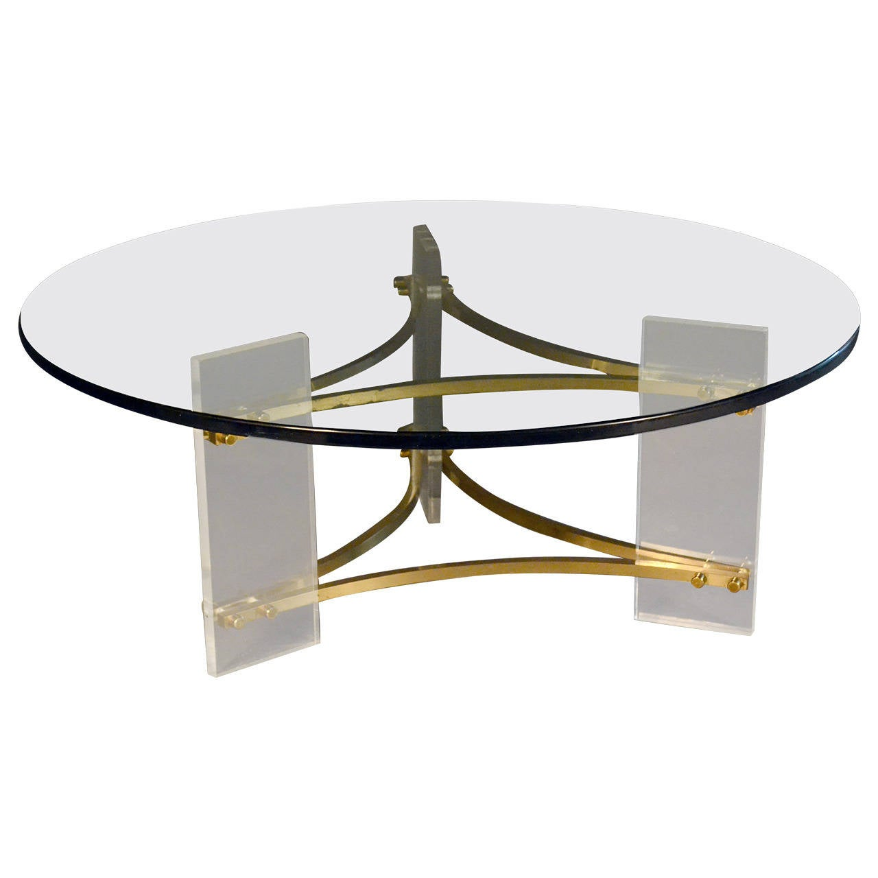Charles Hollis Jones Lucite And Brass Coffee Table With Glass Top At 1stdibs