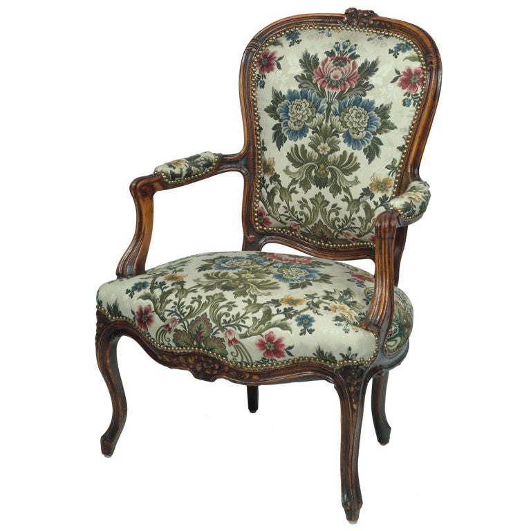 Louis Xv Style Open Arm French Antique Chair At 1stdibs