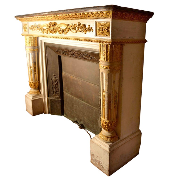 Louis Xvi Style Gilded And Painted Wood Fire Surround At