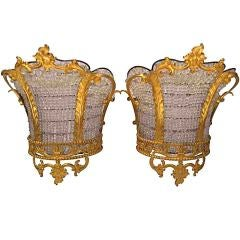 Pair of French gilt bronze and crystal beaded sconces in the shape of crowns