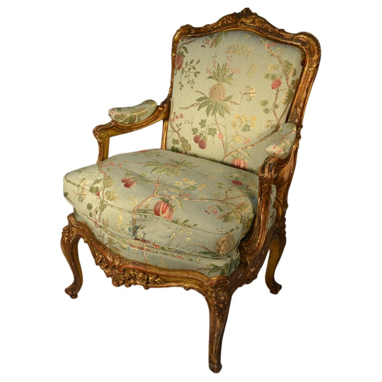 Single louis xv style gilt frame arm antique chair at 1stdibs for Antique looking chairs