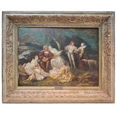 "Signed Antique Oil Painting Titled ""Fetes"" By Adolphe Monticelli - Circa 1870"