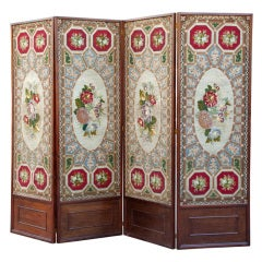 19thC Prussian Needlepoint Screen