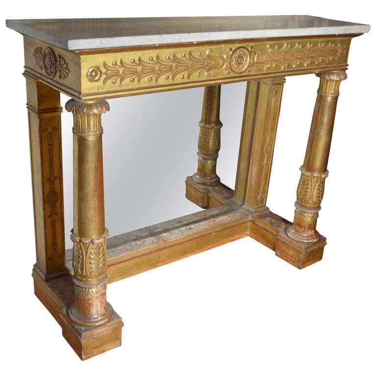 french empire giltwood console table signed bellange