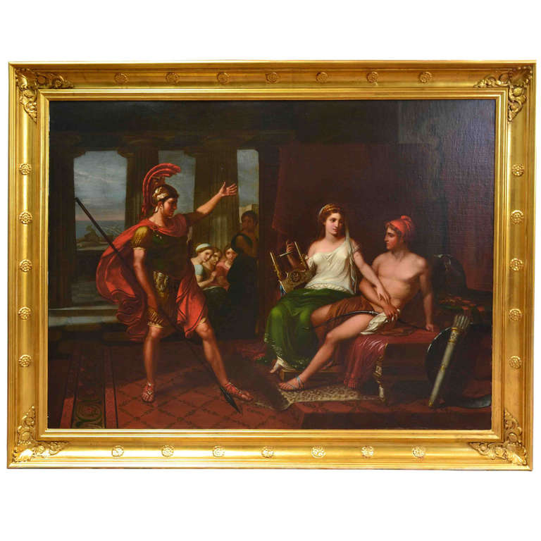 French Neoclassical Painting Depicting Hector Scolding