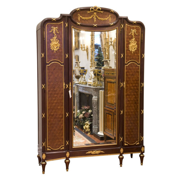 french louis xvi style armoire attributed to linke at 1stdibs. Black Bedroom Furniture Sets. Home Design Ideas