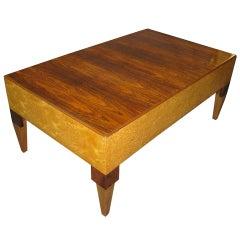 Brazilian rosewood and birds eye maple rectangular coffee table @1940
