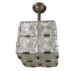 Cube Pendant Light Cut-Glass with Nickeled Clips