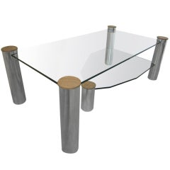 "Large Glass and Nickel Coffee Table ""Arctic Slab"" by Yves Maxx"