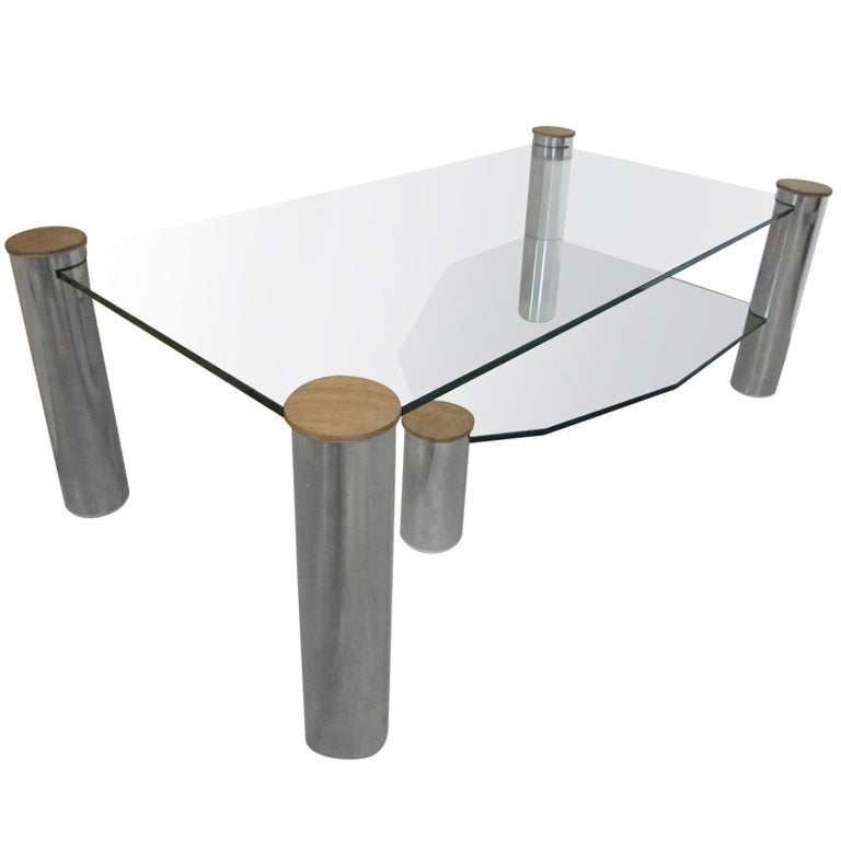 Large glass and nickel coffee table quot arctic slab quot by yves maxx at