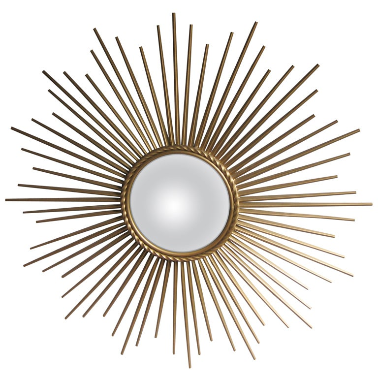 Chaty vallauris mid century gilt metal soleil mirror at for Chaty vallauris miroir