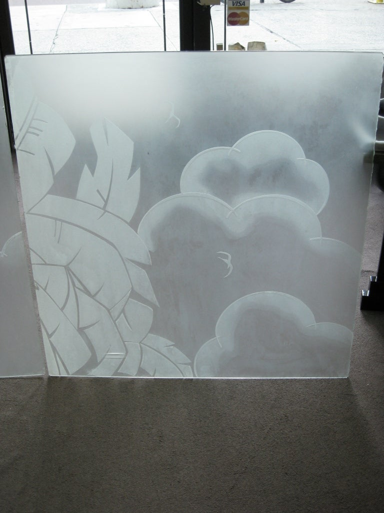 Two French Art Deco Architectural Etched Glass Cloud Panels In Good Condition For Sale In New York City, NY