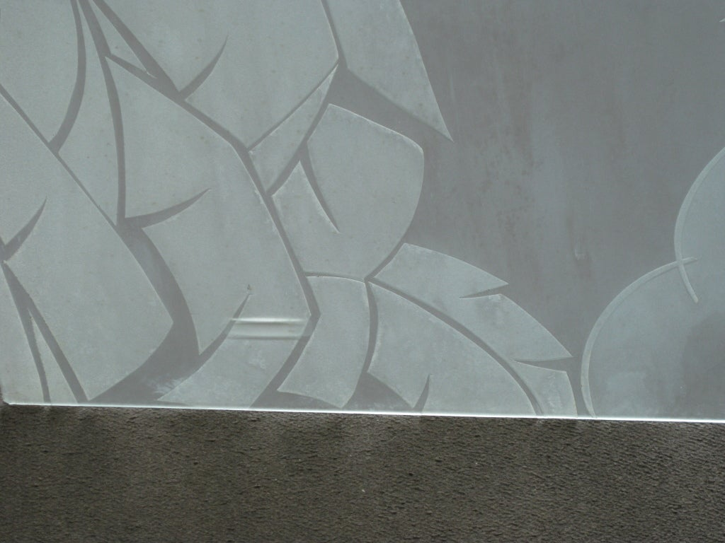 20th Century Two French Art Deco Architectural Etched Glass Cloud Panels For Sale
