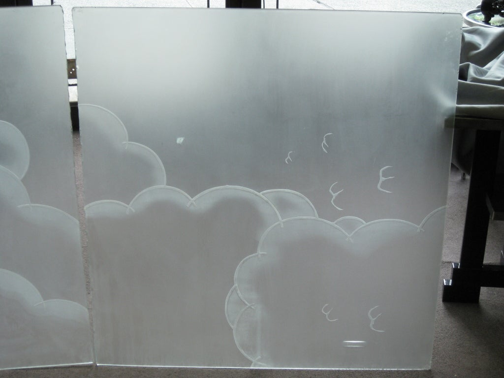 Two French Art Deco Architectural Etched Glass Cloud Panels For Sale 1
