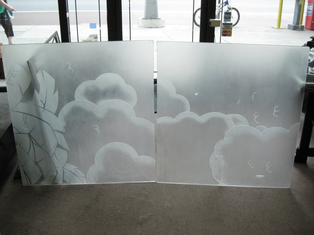 Two French Art Deco Architectural Etched Glass Cloud Panels For Sale - Glass floor panels for sale