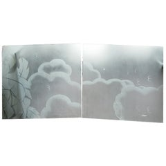 Two French Art Deco Architectural Etched Glass Cloud Panels