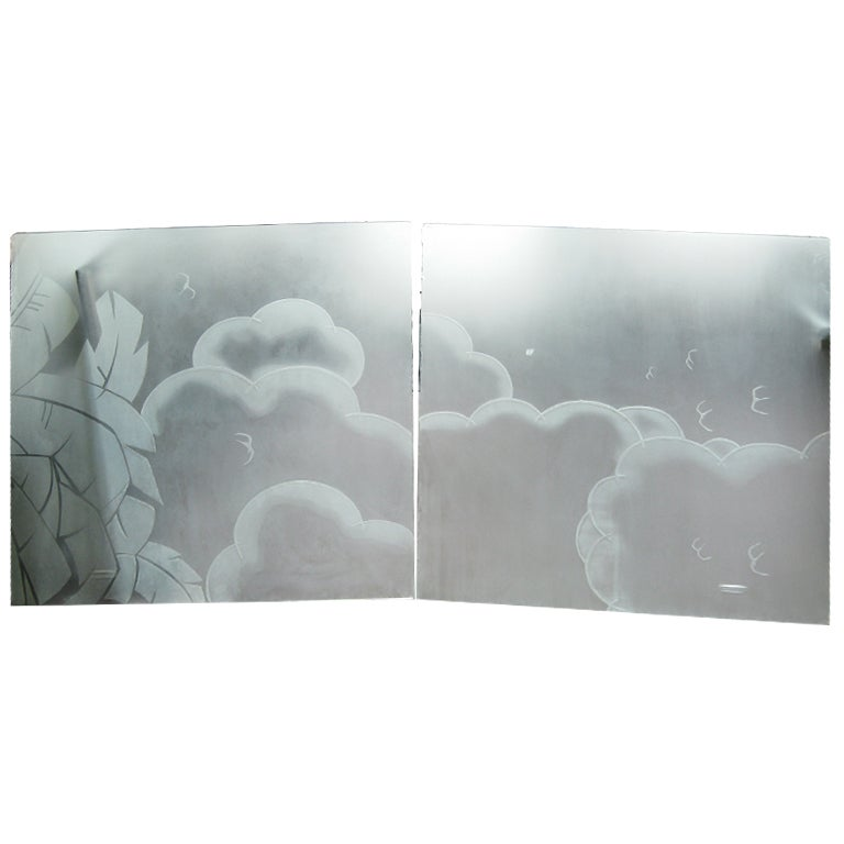 Two French Art Deco Architectural Etched Glass Cloud Panels For Sale