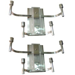 Pair or Four Nickeled Bronze and Glass Modernist Sconces