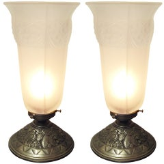 Pair or Single French Table Lamp, Frosted Glass and Nickeled Bronze