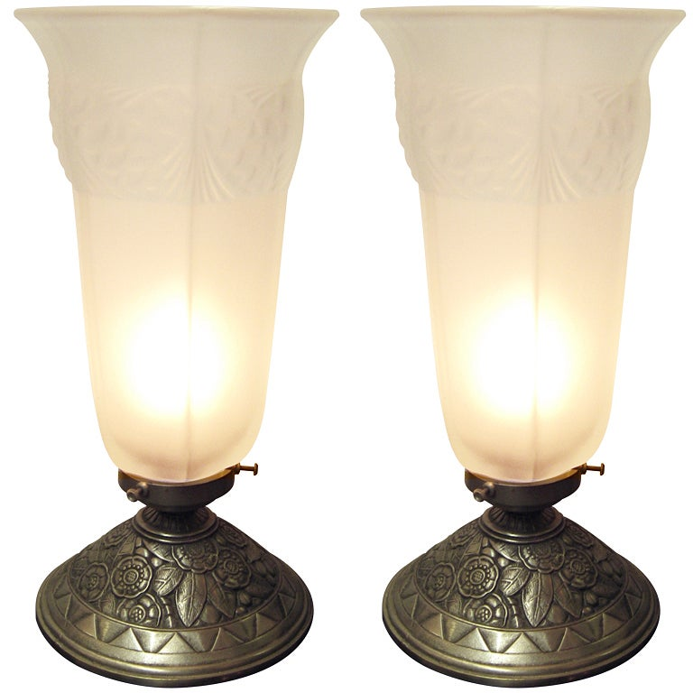 Pair or Single French Table Lamp, Frosted Glass and Nickeled Bronze 1