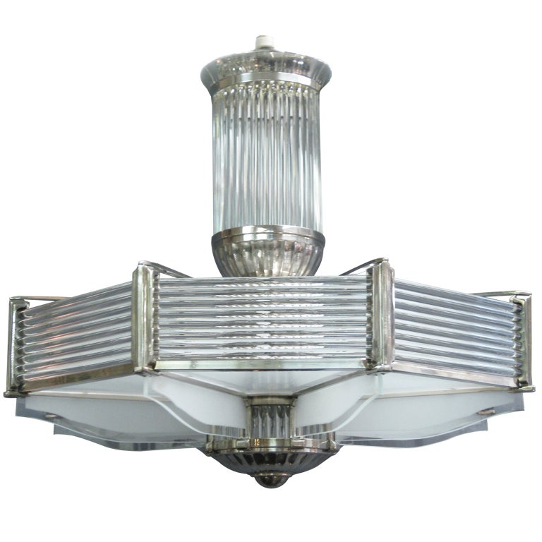 """Large 31 """" wide Nickeled Bronze Polished and Frosted Glass Chandelier Petitot"""