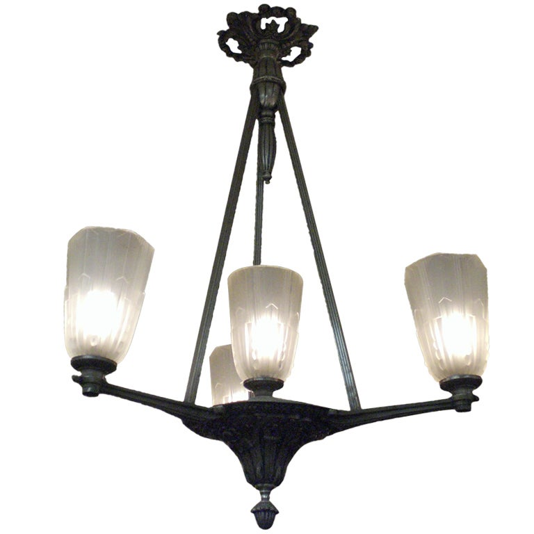 Four Tulip Chandelier in Frosted Glass and Satin Nickeled Bronze