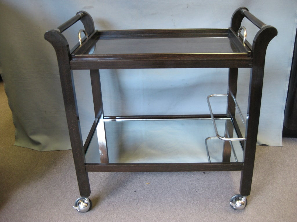 French Modernist Rolling Bar Cart With Removable Tray At